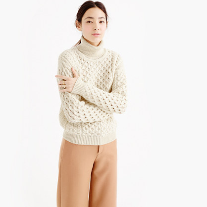 "Aran Craftsâ""¢ wool cable turtleneck sweater"