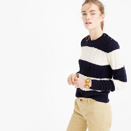 Perfect cable sweater in stripe