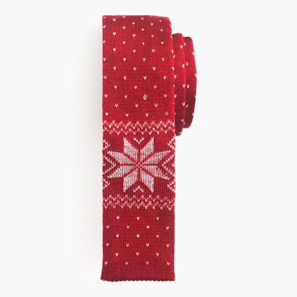 Italian wool tie in classic red Fair Isle