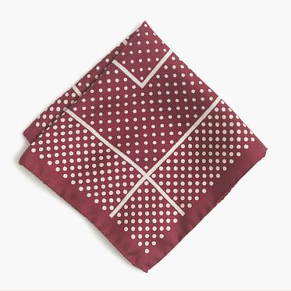 Italian silk pocket square in bordered dot