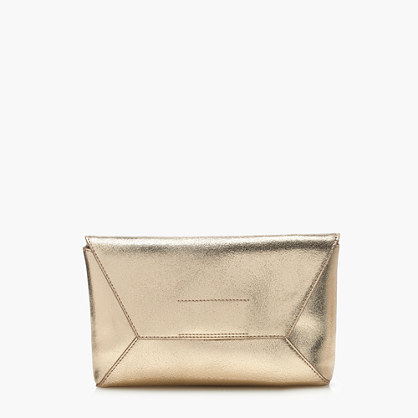 Leather envelope clutch in crackled gold foil