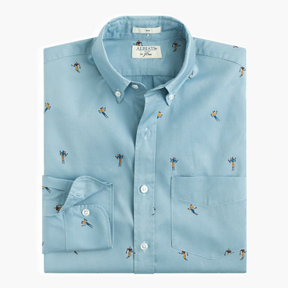 Albiate 1830 for J.Crew Ludlow shirt with embroidered skiers
