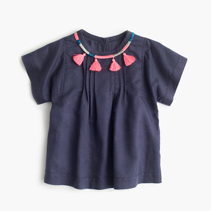 Girls' tassle necklace peasant shirt