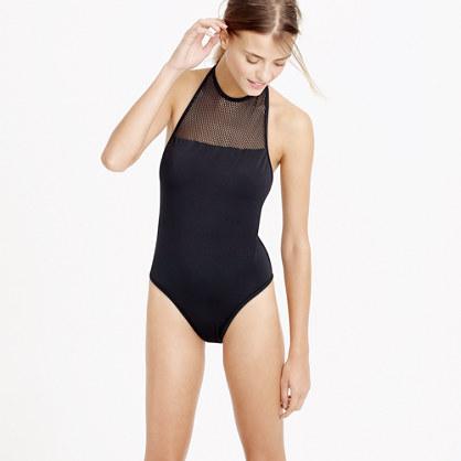 Mesh halter one-piece swimsuit