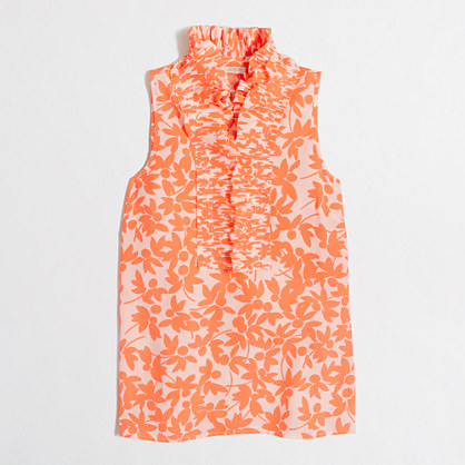Printed ruffle-collar cami top