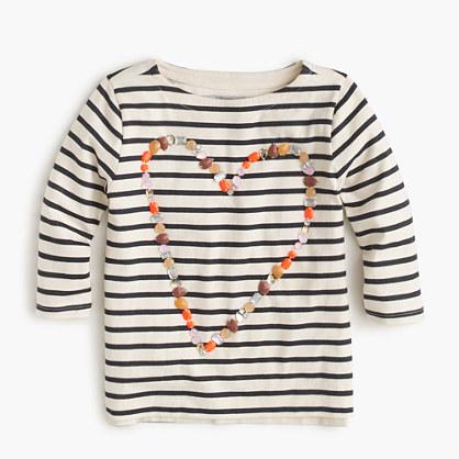 Girls' embellished heart long-sleeve T-shirt