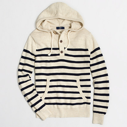 Factory striped henley hoodie
