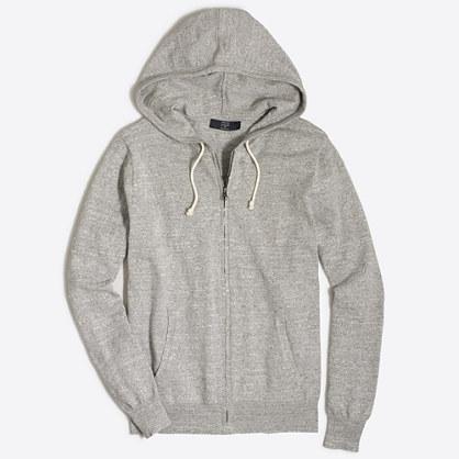Factory full-zip textured cotton hoodie