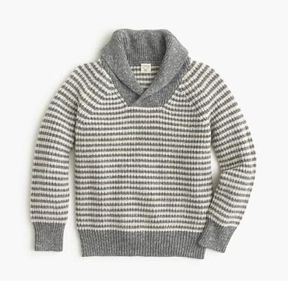 Boys' marled striped shawl-neck sweater