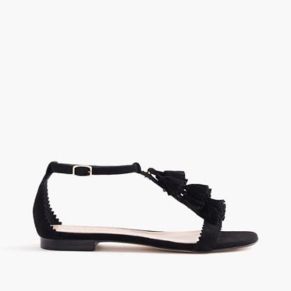 Suede tassel sandals