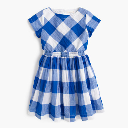 Girls' dress in large gingham