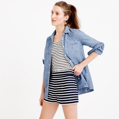 Bonded twill short in horizontal stripe