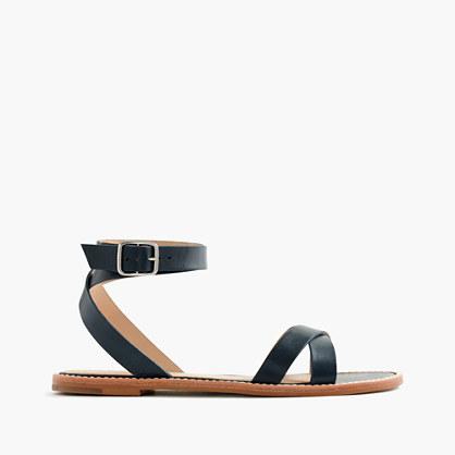 Leather cross-strap flat sandals