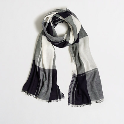 Factory plaid Lurex® thread scarf