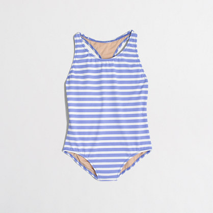 Factory girls' striped one-piece swimsuit