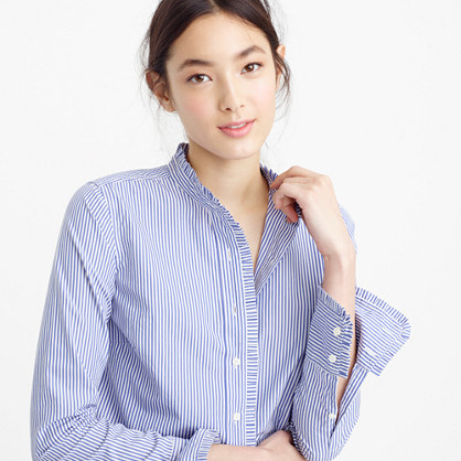 Ruffled button-down shirt in stripe