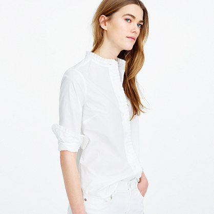 Petite ruffled button-up shirt in white