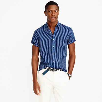 Short-sleeve shirt in indigo striped Irish linen