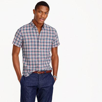 Short-sleeve délavé Irish linen shirt in Morton plaid