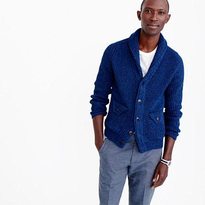 Wallace & Barnes indigo cotton shawl cardigan sweater