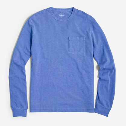 Factory long-sleeve sunwashed garment-dyed T-shirt