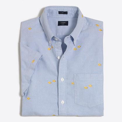 Slim short-sleeve embroidered oxford shirt