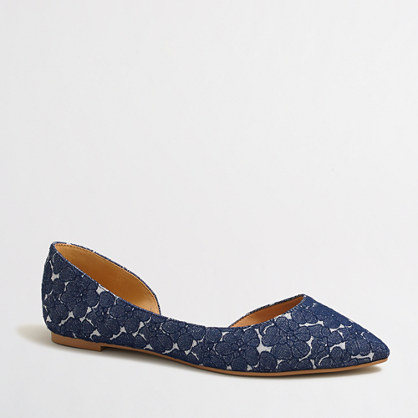 Factory classic d'Orsay flats in floral denim