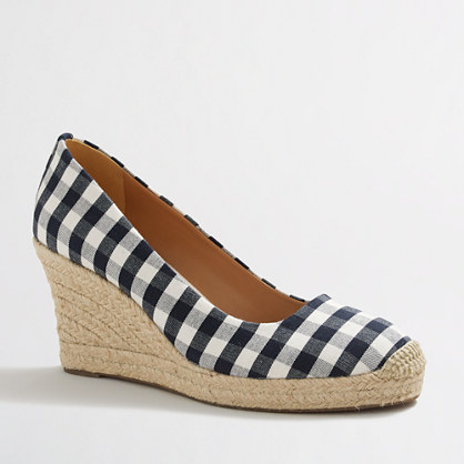 Factory gingham espadrille wedges