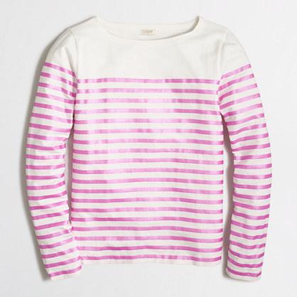 Factory metallic-striped T-shirt