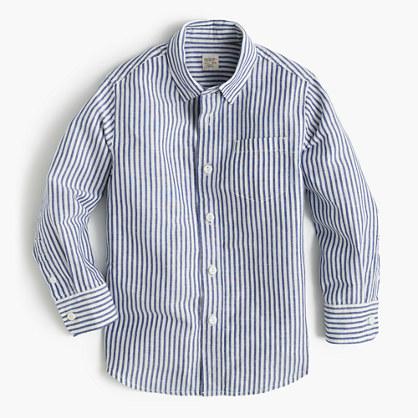 Kids' linen-cotton striped shirt