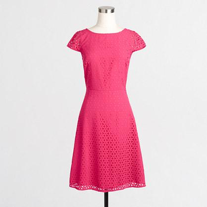 Laser-cut cap-sleeve dress