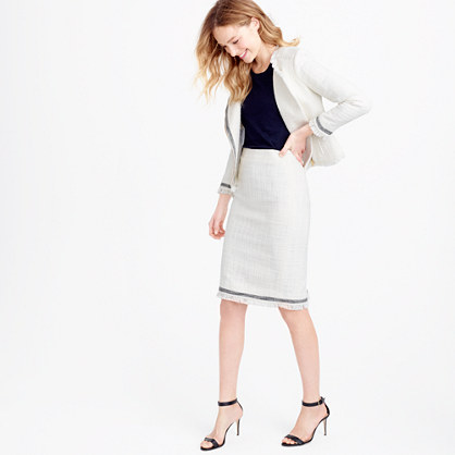 Tweed pencil skirt with fringe