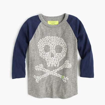 Boys' glow-in-the-dark three-quarter-sleeve skull T-shirt