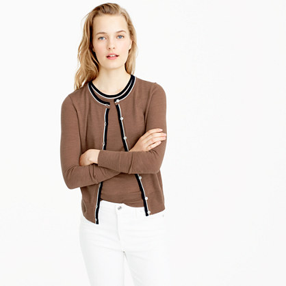 Tipped lightweight wool Jackie cardigan sweater