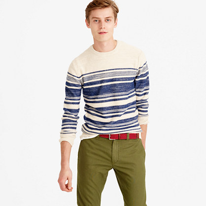 Textured cotton crewneck sweater in blanket stripe