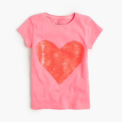 Girls' two-toned sequin heart T-shirt