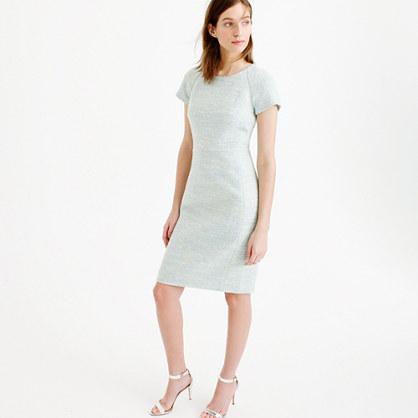 Short-sleeve dress in multi-tweed