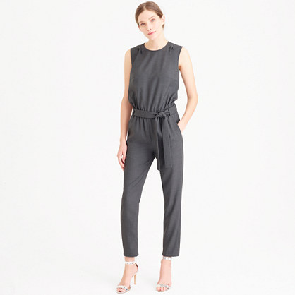 Sleeveless jumpsuit in Super 120s wool