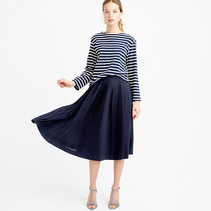 Petite micro-pleated midi skirt