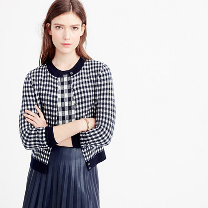 Collection featherweight cashmere cardigan sweater in gingham