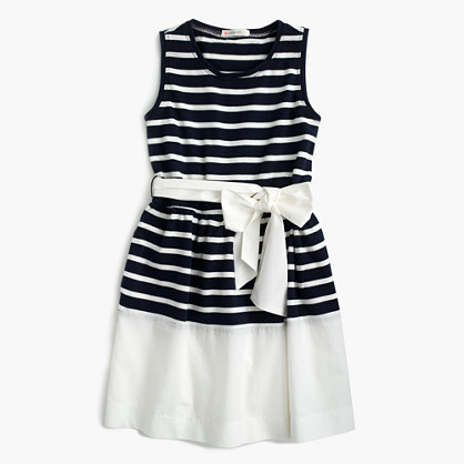 Girls' belted stripe dress