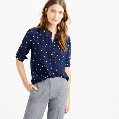 Petite silk popover shirt in polka dot