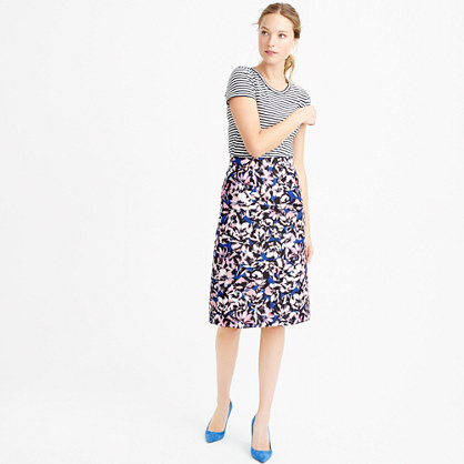 A-line skirt in hibiscus print