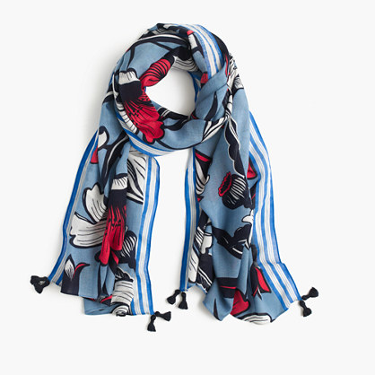 Tassel-edged scarf in Deco floral