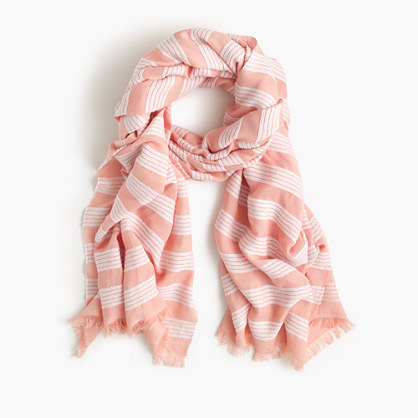 Striped scarf with fringe