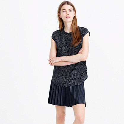 Petite sleeveless silk top in constellation dot