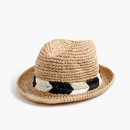 Straw fedora hat with chevron band
