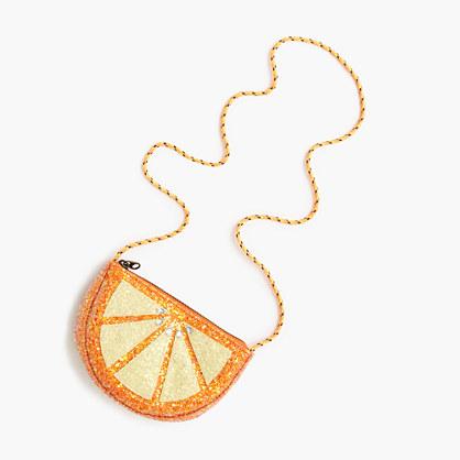 Girls' glitter orange slice bag