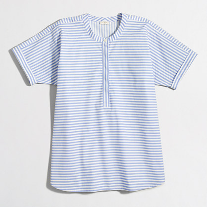 Factory collarless short-sleeve striped popover shirt