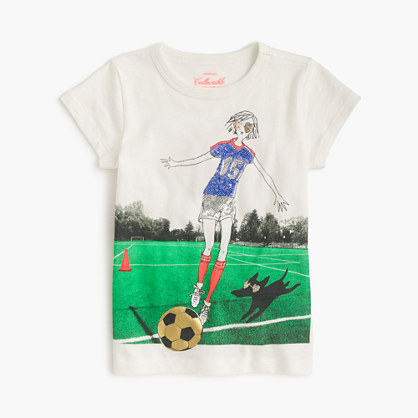 Girls' Olive playing soccer T-shirt